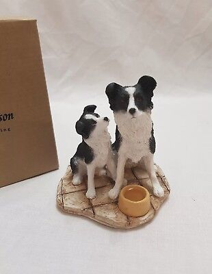 Country Artists Sherratt And Simpson- Border Collie And Pup With Bowl Figurine