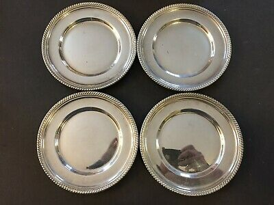 "4 Vintage Sterling Silver Gorham Plates #180 Gadroon Pattern Rim. 6"" 366.6 Grams"