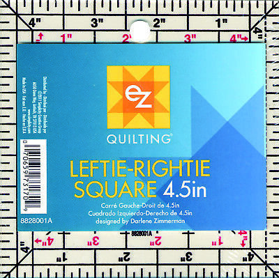 "EZ SIMPLICITY 4.5"" x 4.5"" SQUARE ARCYLIC TEMPLATE - LEFTIE RIGHTIE RULER QUILTIN"