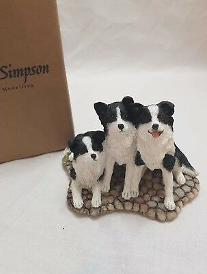Country Artists Sherratt And Simpson- Border Collie Trio Figurine