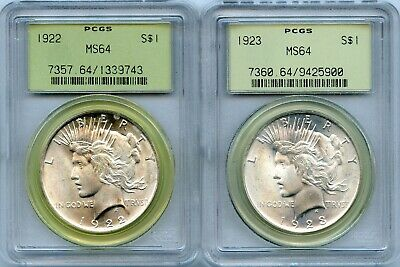 1922 & 1923 Silver Peace Dollars   PCGS MS64 OGH