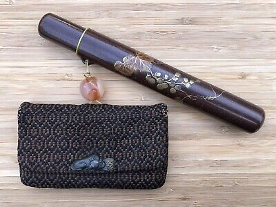 Japanese antique vintage leather cut tobacco pouch purse with Kiseru case chacha