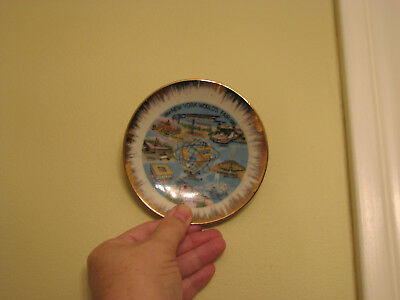Vtg 1964-65 NEW YORK WORLD'S FAIR Souvenir Plate 4.5 in, Gold rim, Japan Import