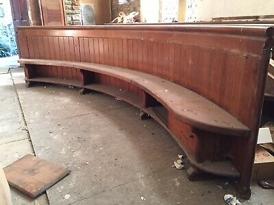 Large Wooden Church Pew - Bench - Curved 12ft