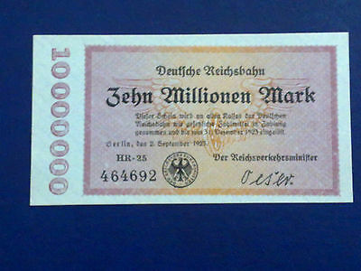 Germany - 10 Million Mark Rail Banknote 1923-Inflation - Almost Uncirculated