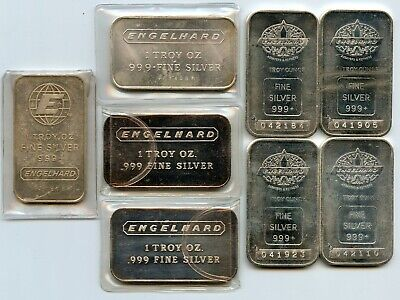 Genuine lot of 8 Engelhard 1 troy oz .999 silver bars, 4 different types!