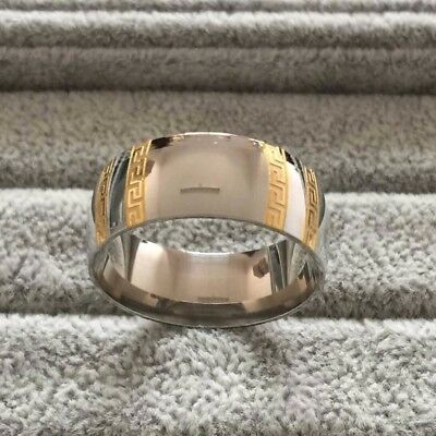 Ancient Greek Key Meander Titanium Steel Silver & Gold Plated Ring Band