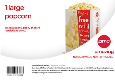1 Lg popcorn AMC Theaters.EXP. 6-30-20 EDELIVERY