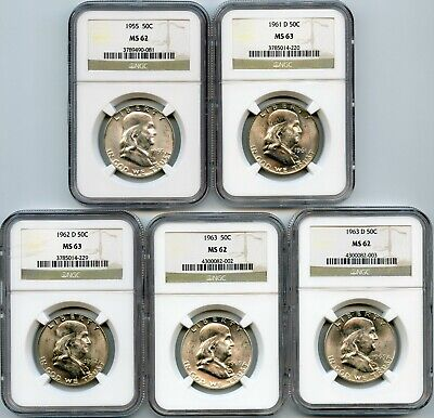 Genuine Lot of NGC Graded MS62-63 Silver Franklin 50c, 1955-1963