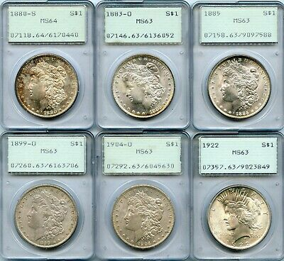 1880-1922 Silver Morgan & Peace Dollar Lot | PCGS MS63 & MS64 OGH Rattler