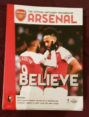 Arsenal v Rennes. Uefa Europa League Official Matchday Programme 2018/2019