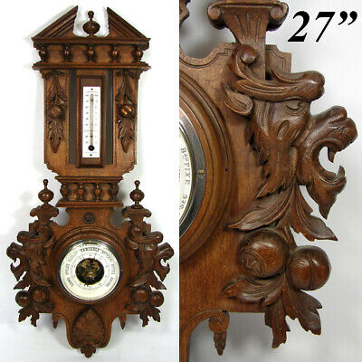 "Antique Victorian Black Forest Style Carved 27"" Wall Barometer, Griffin Figures"