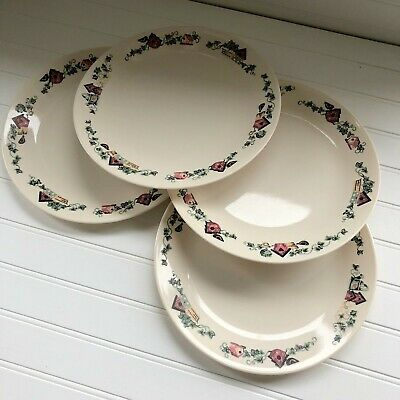 Lot of 4 Corelle Garden Home Dinner Plates Birdhouses Green Leaves Vintage