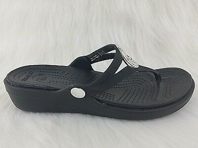 893d1208e09e CROCS Sanrah Womens Black Slip On Wedge Flip Flops Shoes Size 7 Standard Fit
