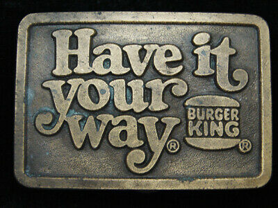 QI15144 VINTAGE 1970s **BURGER KING HAVE IT YOUR WAY** ADVERTISEMENT BELT BUCKLE