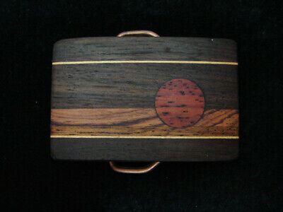 RC05162 VINTAGE 1970s **SUN** INLAID WOOD ON SOLID BRASS AMPERSAND BELT BUCKLE