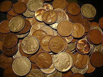 125 Lincoln Wheat Cent, Indian Head Cent, Buffalo Nickel,us Coin Collection Lot