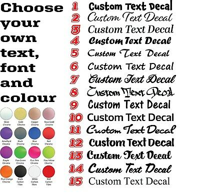 CUSTOM TEXT Chrome Personalised Lettering Names Car/Van/Window Decals 2 x 300mm