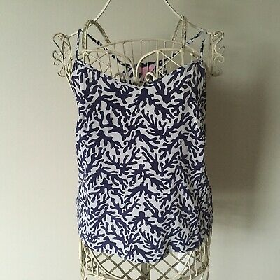 18915fa7657 Lilly Pulitzer Dusk Racer Back Silk Tank Top - Blue Coral Print- Size M -