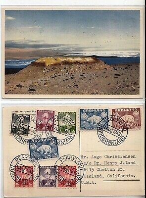 GREENLAND 1-9 1938 Complete set used on 1948 PEARYLAND expedition postcard