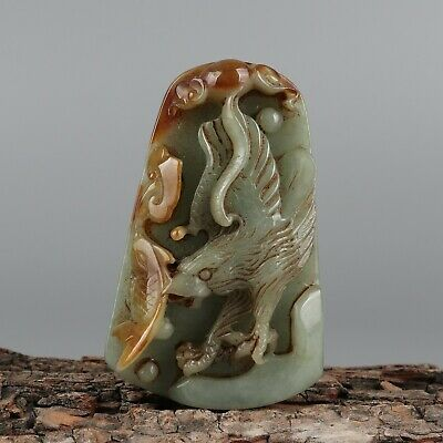Chinese Exquisite Hand-carved eagle Carving jadeite jade Pendant