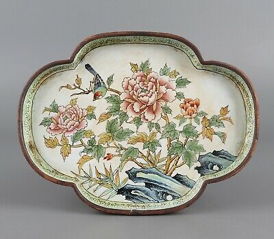Chinese Exquisite Handmade Flower and bird pattern Copper Cloisonne plate