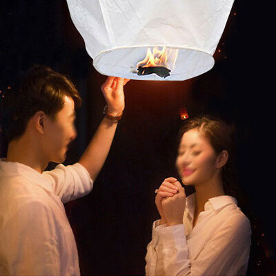 100pc Fly Lanterns Chinese Paper Wish Lamp Sky Candle Flying Fire Kongming White