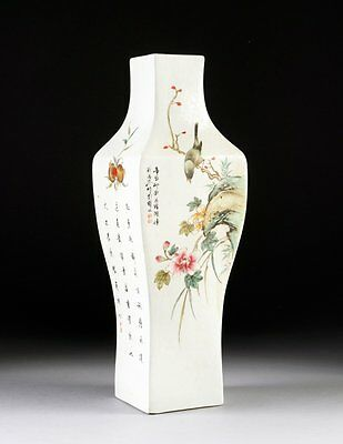 Antique Chinese Hand Painted Square Vase