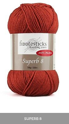 Fiddlesticks Superb 8- 8ply acrylic quality  knitting and crochet yarn 100g