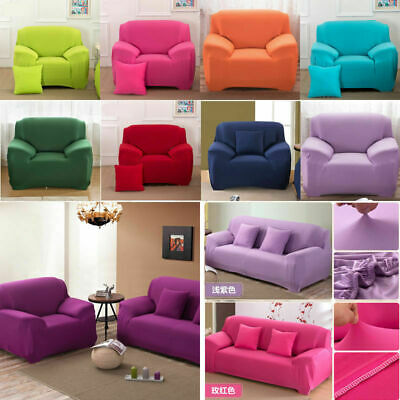 1 2 3 4 Seater L Shape Chair Stretch Solid Sofa Couch Protect Cover Slipcover