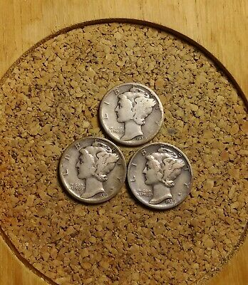 Lot of 3 1939 P D S 10C Mercury Dimes Circulated 90 % Silver US Coin ME1809