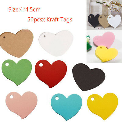 50PCS Heart Kraft Paper Wedding Party Favors Gift Card Label Blank Hanging Tags