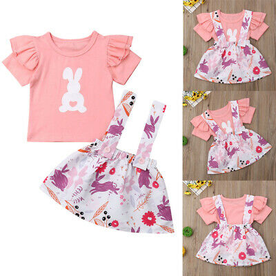 AU 2PCS Easter Toddler Baby Girl Dress Outfit Bunny Tops T Shirt Suspender Skirt