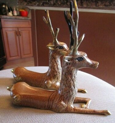Pair Of Brass And Enamel Sarried? Style Seated Deer Reindeer