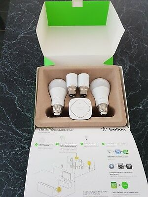 Excellent Condition Belkin Wemo Wifi LED Light Bulb Starter Set E27 + B22