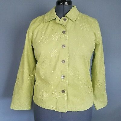 066adc4320 Drapers   Damons Petite Jacket Womens PL Green Floral Embroidered Button  Front