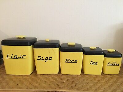 Vintage Nally Ware 5 set Yellow And Black 1950's Retro Canister Set