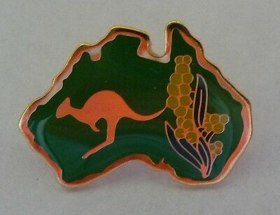 GREEN Australian Map with KANGAROO/Wattle Hat/Lapel PIN Australia Souvenir Badge