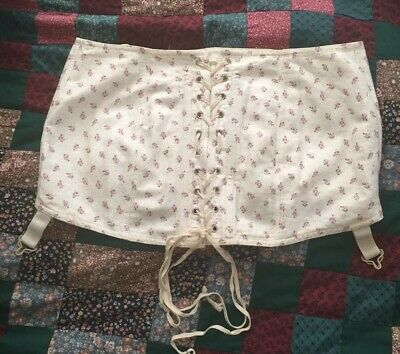 Vintage 1950s Garter Belt Cotton Floral Print Girdle Large Size