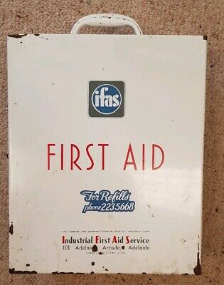 Vintage First Aid  Cabinet Kit Large Metal Industrial IFAS 1959