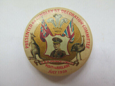 1920 HRH PRINCE of WALES VISIT to ADELAIDE SOUTH AUSTRALIA BADGE or TINNIE