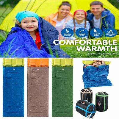 Outdoor Camping Sleeping Bag Single Envelope Tent Hiking Thermal Winter -10°C ID