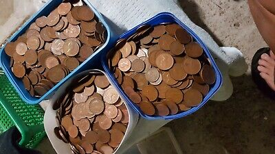 Bulk Lot of Pennies and Halves- No bent , green coins. 2.5kg approx lots-