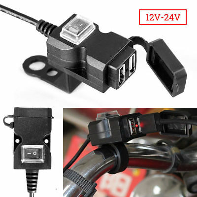 Waterproof Dual USB 12V Motorcycle Handlebar Charger Socket w/ Switch & Mounts