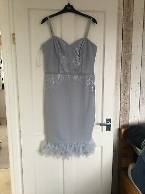 554857f789129 NEW LIPSY LONDON All Over Lace Cold Shoulder Dress Blue Womens Size ...