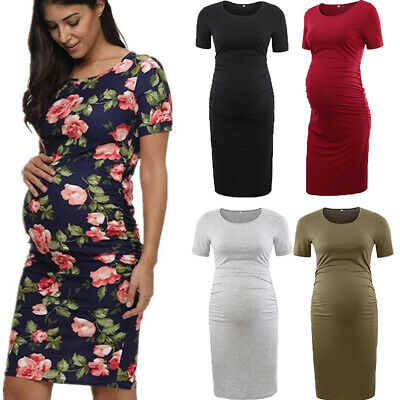 2264353cdcb Fashion Women Floral Solid Cozy Short Sleeve Bodycon Pregnancy Maternity  Dresses