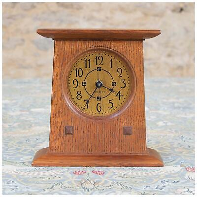 L. & J. G Stickley Arts & Crafts Mission School Oak Oak Mantle Clock
