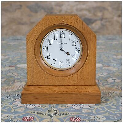 Arts & Crafts Cotswold School Oak Mantel Clock with Mappin & Webb 8 day movement