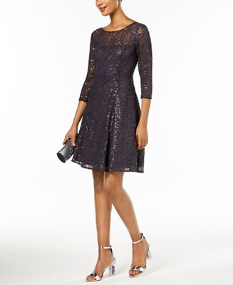 754b43ea SL Fashions Sequined Lace Fit & Flare Dress MSRP $ 119 Size 12 # 10B 307