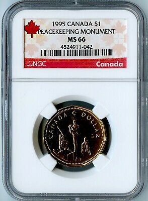 1995 Canada Ngc Ms66 Peacekeeping Monument Loonie $1! Only 15 Exist In Ms66!